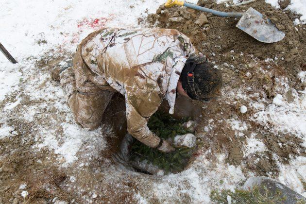 Metsästäjä on asettelemassa havuja maakuopan luona. Vieressä on lapio ja paljon hiekkaa ja lunta.